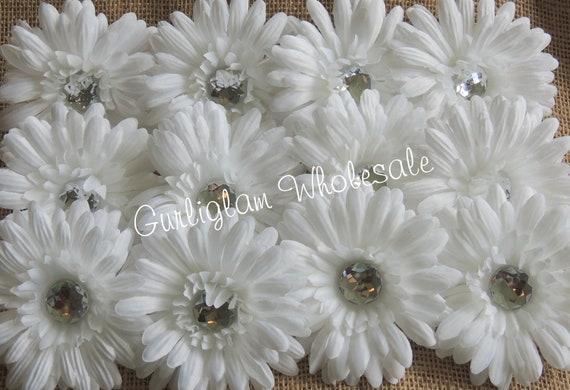 """12 pc White 4"""" Gerbera Daisy, Daisy, Flower head"""
