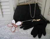 Vintage Beaded Clutch Purse Black Gloves Black and Gold Earrings Set Ensemble