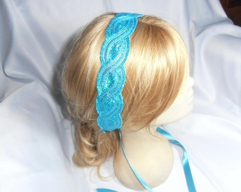 Wedding Headband, Bridesmaid turquoise blue sequin headband, turquoise blue ribbon Hair Accessory, Wedding Headpiece
