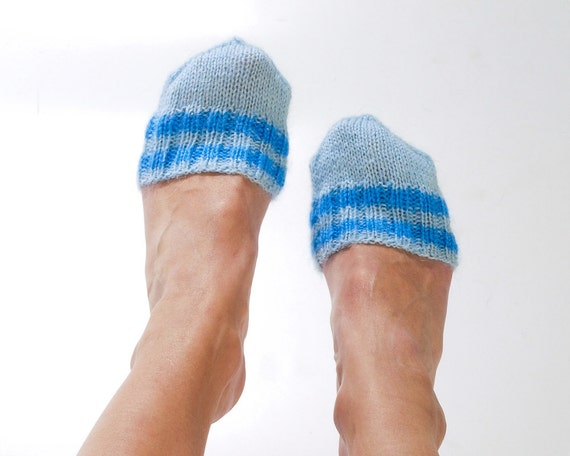 """SOCKS - TOES WARMERS """"Cozy Toes"""" Hand knitted from light blue mohair yarn. Great to wear with shoes"""