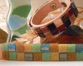 Glass Tiled Leather Bracelet (Choose One Color) -  By Germaine G. Egrie