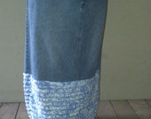 Long Jean Skirt With Blue and White Ruffles