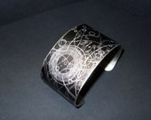 Dr Who Steampunk Doctor Who Gallifrey Symbols 1 1/2 Inch Antiqued Silver Over Brass Cuff Bracelet