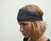wide boho headband purple shimmer pleated chiffon sheer headband
