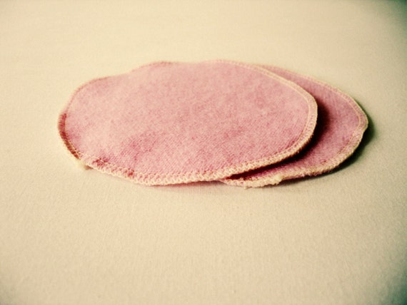 Cashmere Wool Nursing Pads -- Upcycled Pink Wool Breast Pads -- All Wool