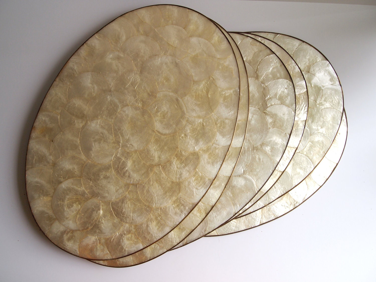 Set Of 6 Vintage Capiz Shell Mother Of Pearl Table Oval