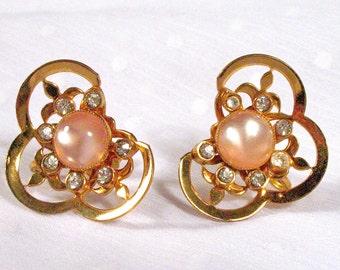 Vintage Pink Peach Pearlescent  Rhinestone Gold Earrings