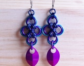 Turquoise, purple, dark blue Japanese cross earrings