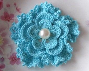 Crochet Flower in 3 inches in  Aqua YH - 043-18