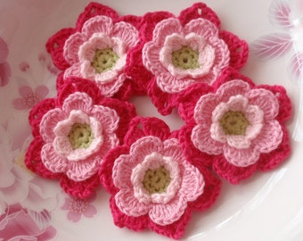 5 Crochet Flowers  YH-112