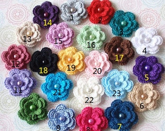 23 Crochet Flowers With Pearls In Multicolor YH-011-16A