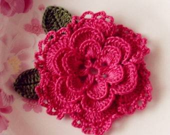 Crochet Flower With Leaves In 3-1/4 inches YH-099-09