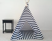 Black and White or Red and White Horizontal Stripe Tent and Mat, Tent, Kids Teepee, Play Tent Made to Order - Theteepeeguy