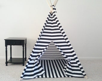 Black and White Horizontal Stripe play teepee and Mat black and white Tent Kids Teepee Play Tent Made to Order