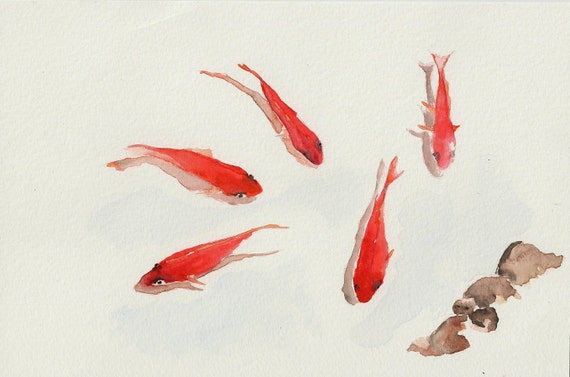 Red koi fish 6 x9 original watercolor painting for Original koi fish
