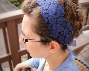 Navy or Teal Lace Head Covering Headband