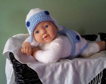 Newborn Boy's Aviator Hat and Diaper Set and  Photo Prop