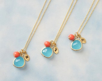 Personalized Necklace,  Ocean Blue Framed Glass with Coral Necklace,  Bridesmaid gift, Birthday Gift