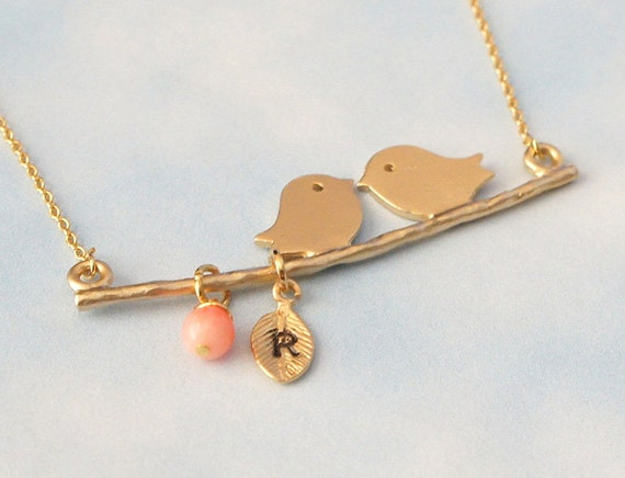 Personalized  Kissing Bird  with Coral Necklace, Branch Necklace - Birthday Gift Necklace, Girlfriend Gift, Mom Gift