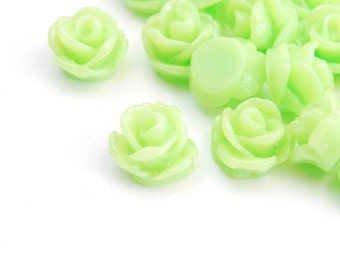 Light Green Rose Cabochons - 10 pieces