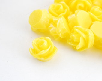 Tiny Flower Resin Cabochons,  Yellow Rose - 12 pieces