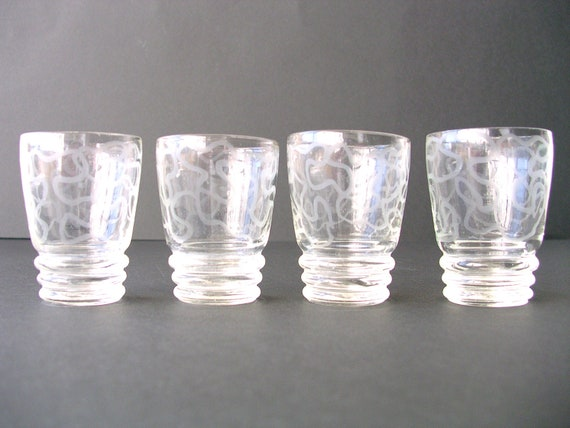 Four Darling Vintage Small Glasses with Round Stripes - Port Wine Glasses - RESERVED CANDACE