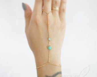 Seafoam Mint Rondelle Beads, Simple Chic, Gypsy, Gladiators Hand Bracelet Finger Bracelet Slave Bracelet