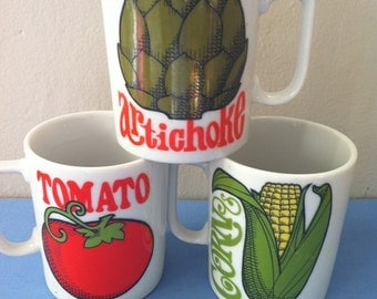 Vintage Mug CORN COB Text Fans Fab Fonts Japan 1960s