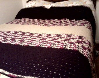 Crochet King Size Bed Afghan / Extra Large Blanket -ooak - See Shop Announcement for Coupon Code