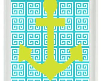 Beach Nautical Art Print Set -  Anchor - Aqua Lime Green Greek Key - Wall Art Bathroom Home Decor Beach House  print
