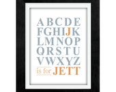 Personalized Baby Name Printable Alphabet Wall Art Decor Digital JPEG File