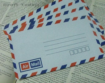 Vintage Style  Air Mail Envelopes Set of 30 Size: 90 mm. X 162 mm. ( 9 Cm. X 16.2 Cm. )