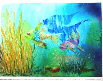 Original watercolor and mixed media painting of Whimsical Fantasy Fish swimming in their bright blue water
