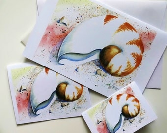 All Occasion/Note/Gift Cards from original pencil painting or watercolor artwork with vellum insert and envelope