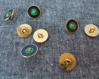 Buttons - Set of 8 emerald green black and gold knot buttons