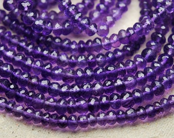 14 Inches, Super Rare Finest Quality Purple Natural African AMETHYST Micro Faceted Rondelles,5-5.5mm Manufacturers Price Item
