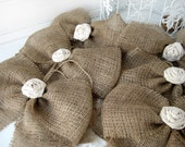 Burlap Bow Rustic Wedding Fabric Rose Set of 4 Pew Bows  Aisle Decor on chairs or bench