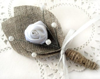 Burlap Groom's Boutonniere for Wedding Rustic Bout with White Flower
