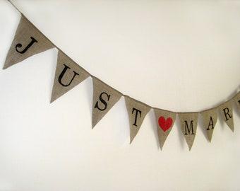 JUST MARRIED burlap banner,Wedding Banner, rustic wedding, bunting,  cake table banner