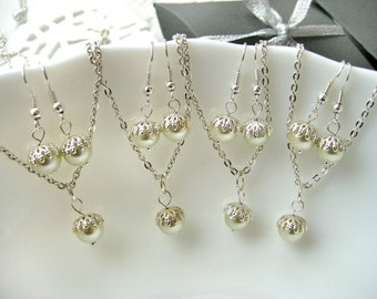 Set of 4 Bridesmaid Pearl Necklace and Earring Sets, Pearl Bridesmaid Sets,Bridesmaid Gift Set