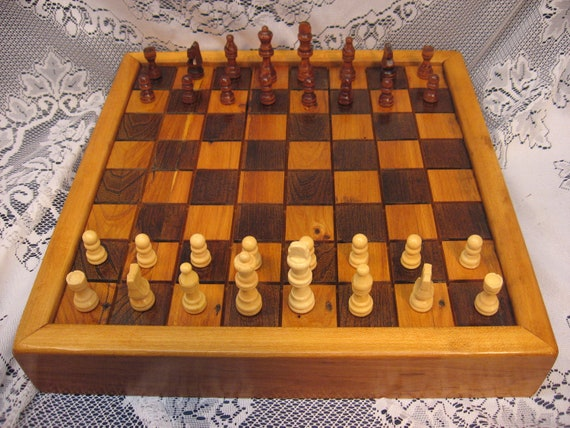 1830's Barn Beam Chess Set in Wormy Chestnut