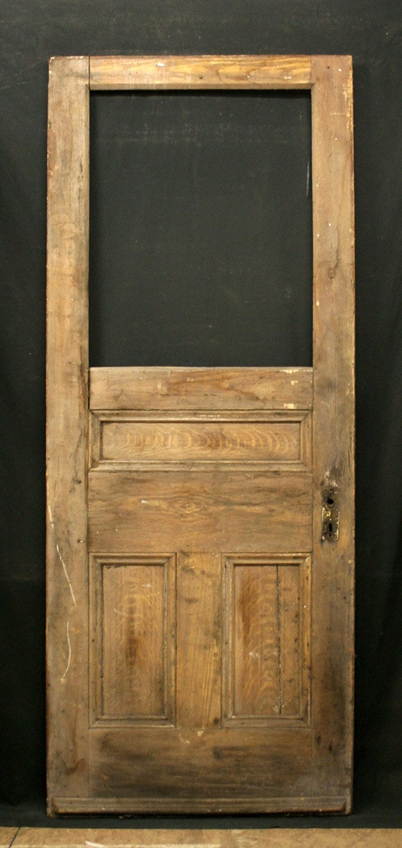 32x 79 Antique Exterior Entry Pine Door Chamfered