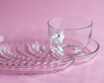 Snack Trays, Cup and Plate Sets,Clear Glass Vintage , DIY Wedding Shower Decor, Bridal Baby Shower, Set of 4 pairs