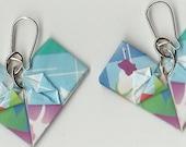 Adorable Origami Ribbon Heart Earrings