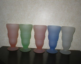 5 - 1950's Frosted Glass Ice Cream Parlor Glasses