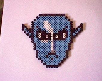 The Legend of Zelda Zora Mask perler bead creation....melted beads with magnet on back