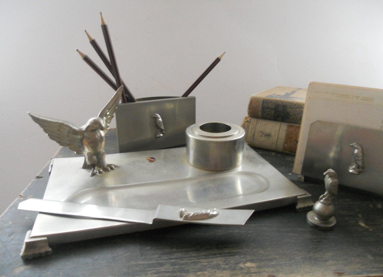 Antique desk organizer metal desk accessories vintage office - Desk organizers and accessories ...
