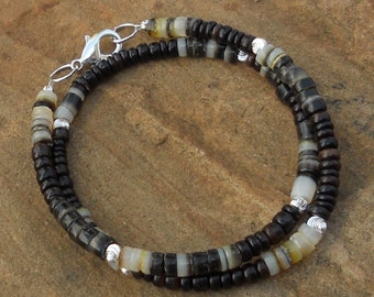 Double Silver and Shell Bracelet