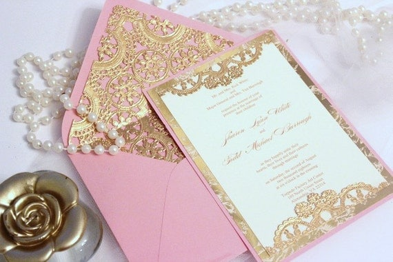 Wedding Invitation Vintage Gold Lace Blush Pink Ivory