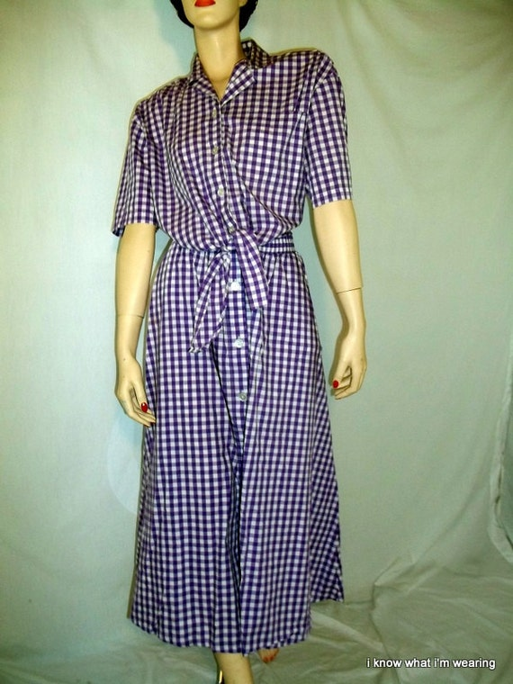 80's Vintage Purple Gingham Checked 2 Piece Skirt and Blouse